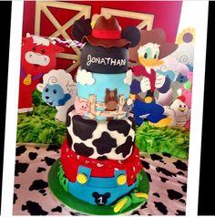 Mickeys barn yard birthday party cake