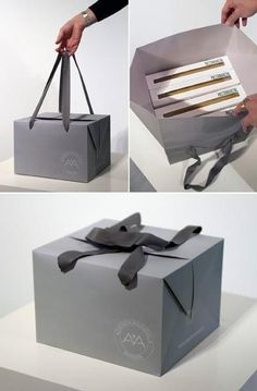 Packaging Design : The Box-bag. Great for packaging shoes Cake Packaging, Pretty Packaging, Brand Packaging, Cake Boxes Packaging, Product Packaging, Clever Packaging, Packaging Ideas, Wedding Packaging, Innovative Packaging