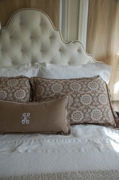 my velvet tufted headboard with Peacock Alley linens/how to build your bed