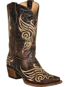 Corral Women's Circle G Distressed Bone Embroidered Cowgirl Boot Snip Toe -- Check out this great image  : Cowgirl boots