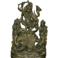 Lord Krishna on Kaliya Serpent Hindu God Brass Sculpture Krishna Statue 12: Home & Kitchen $245.00