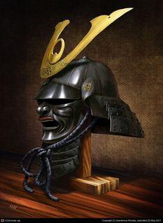 Samurai helmet by Renegraphics on DeviantArt Japanese Art Samurai, Japanese Mask, Japanese Warrior, Kabuto Samurai, Samurai Helmet, Escudo Viking, Samurai Warrior Tattoo, Bushido, The Last Samurai