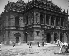 Budapest Opera House in the past // VI. Andrássy út, a Magyar Állami Operaház épülete.My grandfather Karoly Bajusz played trombone here, before he came to America in He changed his name to Charles Bajus. Budapest Hungary, Old Photos, Opera House, The Past, Louvre, Street View, America, Black And White, History