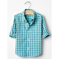 Convertible plaid shirt ($27) via Polyvore featuring tops, blue shirt, plaid shirt, tartan shirt, tartan top and convertible tops