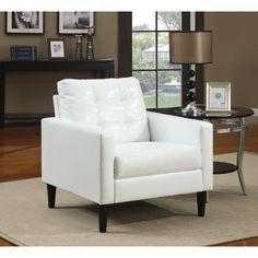 White Faux Leather Accent Chair - Walmart.com - Walmart.com White Living Room Chairs, Living Room Furniture, White Chairs, Dining Chairs, Dining Room, Home Design, Design Ideas, Interior Design, White Leather Chair