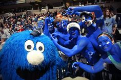 It takes an Xtreme Fan to paint yourself blue, but everyone wants to hang out and have their photo taken with the Blue Blob.
