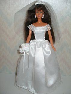 Handmade Barbie doll clothes  white satin and by TheDesigningRose, $16.00