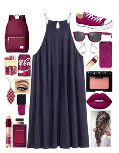 """Cherry"" by awesomel4125 on Polyvore featuring Converse, Herschel Supply Co., Ray-Ban, Yves Saint Laurent, Hipanema, Effy Jewelry, Tiffany & Co., Maybelline, NARS Cosmetics and Lime Crime"