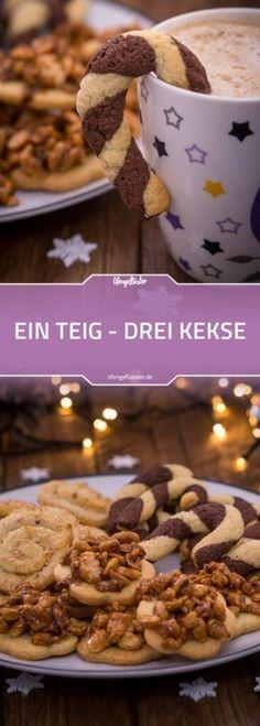 Ein Teig - 3 Plätzchen-Variationen: Erdnussknacker, Kokosschnecken und Schwarz-Weiß-Stangen #rezept #weihnachten #plätzchen