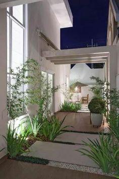 Varanda, casa, jardim