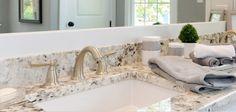 Lakehouse Masterbath; framed mirror, granite, faucet style