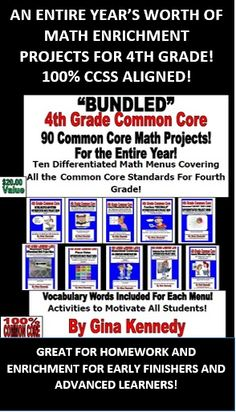 MATH ENRICHMENT PROJECTS FOR THE ENTIRE 4TH GRADE YEAR! All 100% ALIGNED TO THE 4th GRADE COMMON CORE STANDARDS! FINALLY, A WAY TO MAKE LEARNING MATH FUN! STUDENTS LOVE THESE PROJECTS!  A must have for any 4th Grade Teacher! 90 math enrichment projects that correlate with ALL the 4th Grade Common Core Standards. Each menu is sold individually. Excellent math and language arts integration.