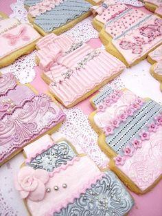 Pink & Grey wedding cake cookies