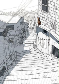 Alleyway and cat. Pen drawing and graphic by James Hyun, Seoul, Korea - Design Art City Drawing, Landscape Sketch, Perspective Art, Urban Sketchers, Environment Concept Art, Architecture Drawings, Art Drawings Sketches, Art Sketchbook, Ink Art
