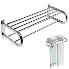 Deluxe Chrome Plated Wall Mounted Stainless Steel Bathroom / Kitchen Utility Shelf Rack w/ 2 Towel Bars Hang Towels In Bathroom, Bathroom Wall Storage, Wall Mounted Shelves, Wooden Shelves, Shelf, Utility Shelves, Kitchen Utilities, Spice Storage, Bathroom Fixtures