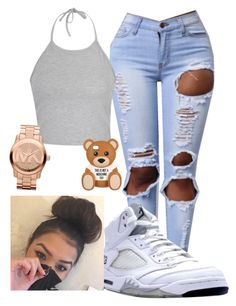 """""""{simple but cute}"""" by wavy-chii ❤ liked on Polyvore featuring Ally Fashion, NIKE, Moschino and Michael Kors"""
