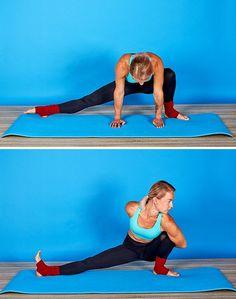 Ces 6exercices t'aideront àpouvoir réaliser rapidement cegrand écart dont tuasrêvé toute tavie Yoga Gym, Yoga Fitness, Fitness Tips, Work Out Routines Gym, Gym Routine, Weekly Workout Plans, Yoga For Back Pain, Yoga Positions, Iyengar Yoga