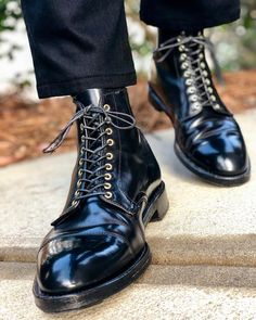 Alden Men's 4065 – Cap Toe Boot – Black Shell Cordovan – Shoes Alden Boots, Oxford Boots, Black Leather Dresses, Black Leather Boots, Soft Leather, Men's Leather, Lace Up Ankle Boots, Shoe Boots, Mens Shoes Boots