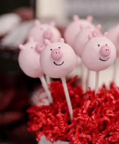Olivia the Pig Birthday Party! - Confessions of a Cookbook Queen Pig Birthday Cakes, 3rd Birthday Parties, 2nd Birthday, Pig Party, Farm Party, Cake Pops, Cumple Peppa Pig, Pig Cookies, Little Pigs