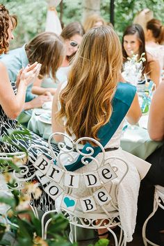 {Sweet & Chic} Teal Bridal Shower Luncheon - love this idea for the Bride to Be's chair