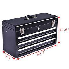 Goplus Portable Steel Tool Box Tool Chest Cabinet w/ 3 Drawers and Top tray, Black&Red Tool Box Diy, Diy Tools, Tool Kit, Steel Tool Box, Bike Deals, Basic Tools, Tool Storage, Ceiling Fan, Drawers