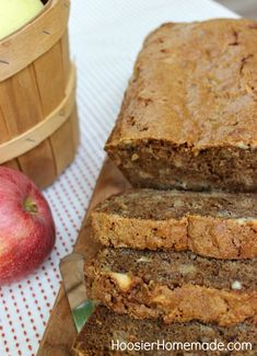 Apple Bread, because I have a ton of apples to use! -- Delicious and moist apple bread! This recipe makes two loaves. I took one to work and it was quickly devoured by my coworkers. KS