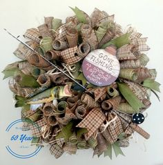 Deco Mesh Fishing Wreath with Fish and Fishing by 60YearsOfLove