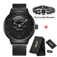 Brand New Style 3D Skull Men Watch Gift Leather Steel or Mesh  Waterproof Clock Casual Military Male Sport Punk Quartz Watches //Price: $40.99 & FREE Shipping //     #hashtag4