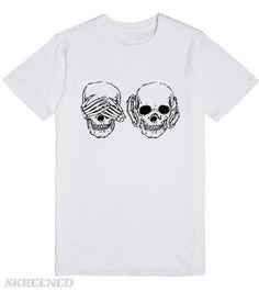 Cool Skull See Hear No Evil See No Evil T-Shirt | Cool Skull See Hear No Evil See No Evil T-Shirt #Skreened
