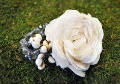 Handmade fabric flower corsage