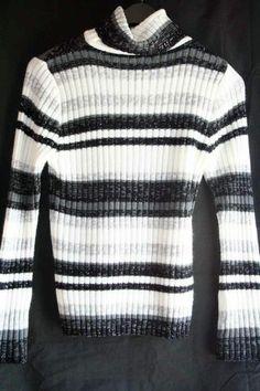 Faded Glory Turtleneck Sweater Missy Small 4 6 Black White Silver Gray | eBay