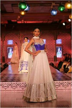Mahajan Couture Show  Blue and white floor length anarkali