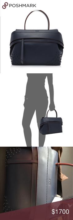New Authentic Tod's Wave Small leather tote bag Brand new authentic Tod's calfskin navy blue bag. Size small, you can google the exact dimensions. Original price is $2165+tax. Selling for $1700 because I wanted the mini size instead but it is passed the 7 day return period. Because it is very soft calfskin, it is natural to have slight creases and fine lines. Tod's Bags Satchels