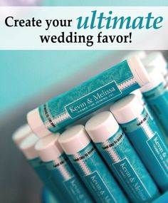 Customize our lip balm with your wedding info to create a wedding favor your guests will never leave home without! Create your ultimate wedding favor with us! #lipbalm
