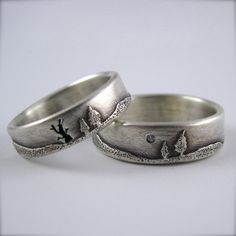 Wedding Band Set: Forest Ring and 6mm Diamond Moon Pines Ring by http://etsy.com/shop/BethMillner