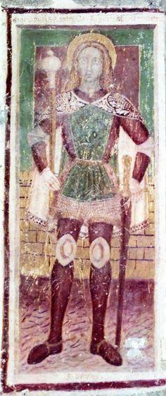 Angelo Baschenis - Ritratto di San Defendente - affresco - 1482 - Chiesa di San Defendente, Roncola (Bergamo, Italia)