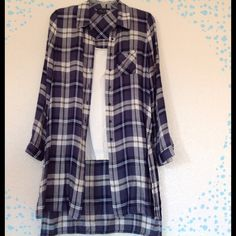 """Plaid Duster, NWOT Lightweight. I am 5'2"""" and it hits right above knee. Has side slits the are open to the hip. Really cute! Bulk, beige. Grey, and blue. Romeo & Juliet Couture Tops"""