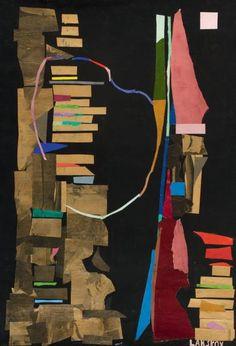ANDRE LANSKOY COMPOSITION Collage et gouache sur papier Signé en bas à