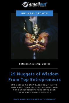 It's useful to step back from time to time and listen to some wisdom from top entrepreneurs who have been there and enjoyed success. Top Entrepreneurs, Free Email Marketing, Business Inspiration, Business Quotes, Starting A Business, Entrepreneurship, Told You So, Success, Wisdom