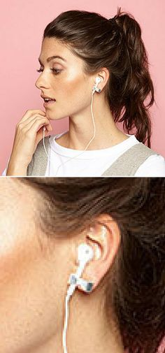 You  know that moment in your favorite song, when the guitar kicks in, the  singer raises an octave, and a glorious crescendo of sound sends chills  across your body? Don't let a headphone slip-up ruin the magic. Keep  tunes streaming to your heart and soul?not falling out every other  step?with these securing studs. The bow-shaped earrings feature an  opening on either side for those temperamental cords, anchoring them  during brisk walks, twists, and turns.#shopping #love #ad #cool #gift