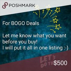 Read Anything marked as a BOGO item, please let me know what you want before you buy. I will put it all in one listing for you.  Otherwise, if you just purchase one BOGO item, I am only going to ship that one item. When I go to pack orders, I only go by what is included in the listing.  Thanks! Shirts & Tops Tees - Short Sleeve