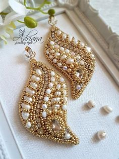 Pearl beaded earrings by Adriana