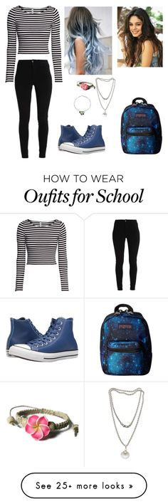 """Going To School Allyana"" by ashleighreigns156 on Polyvore featuring JanSport, H&M, Converse and NOVICA"