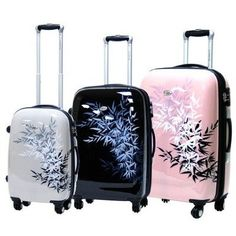Love These Fun 3 Piece Expandable Hardside Spinner Luggage Set Travel