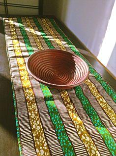 Green stripes African print table runner by BespokeBinny on Etsy, £8.00