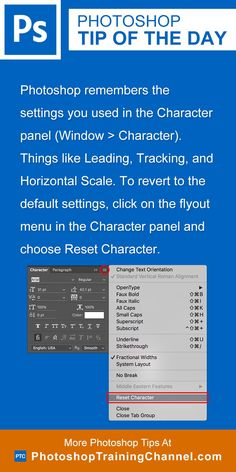 Photoshop remembers the settings you used in the Character panel (Window