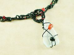 Wire wrapped clear sea glass necklace by davyjonestreasures, $20.00