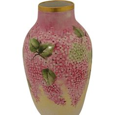 SALE !! Beautiful Jaeger Bavarian Porcelain WISTERIA Vase, perfect for a bouquet of yellow daisies.