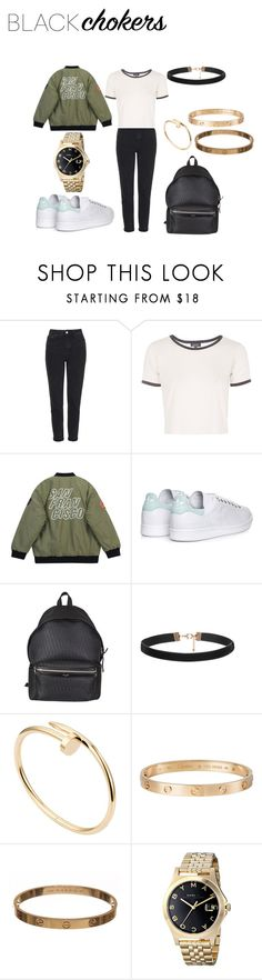 """not-so-basic: Black Chokers"" by neflaluna on Polyvore featuring Topshop, Chicnova Fashion, adidas, Yves Saint Laurent, Cartier, Marc Jacobs and blackchokers"