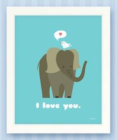 So sweet. :: Elephant 'Love' Print by Storylime